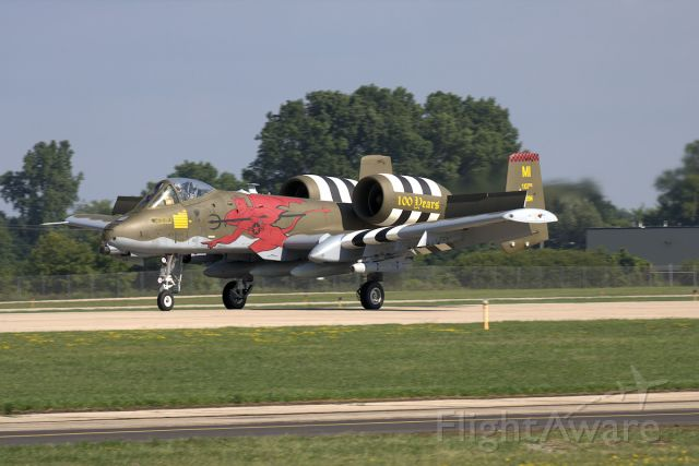 Fairchild-Republic Thunderbolt 2 (81994) - Michigan ANG A-10 Thunderbolt II of the 107FS arrives at EAA AirVenture 2018.  The a/c carries a special paint scheme with D-Day invasion stripes and unit logo celebrating the units 100th anniversary (24/Aug/1917 as the 107 Aero Squadron.