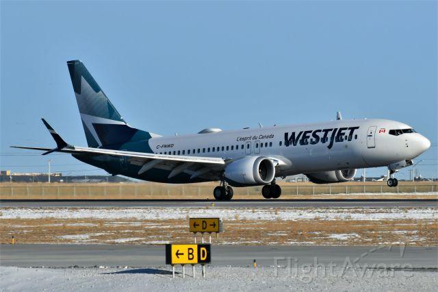 Boeing 737 MAX 8 (C-FNWD) - Westjet Boeing 737 MAX 8 arriving at YYC on Dec 29.
