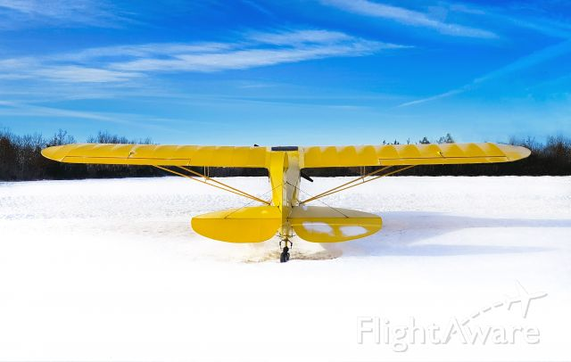 C-FNGQ — - Enjoying the View... generally my little cub is in a hangar but occasionally it likes to get out for a little fresh air, even on those cold winter days. 1945 Piper J3 Cub (C-FNGQ), Stirling Airport (CPJ5), Ontario, Canada