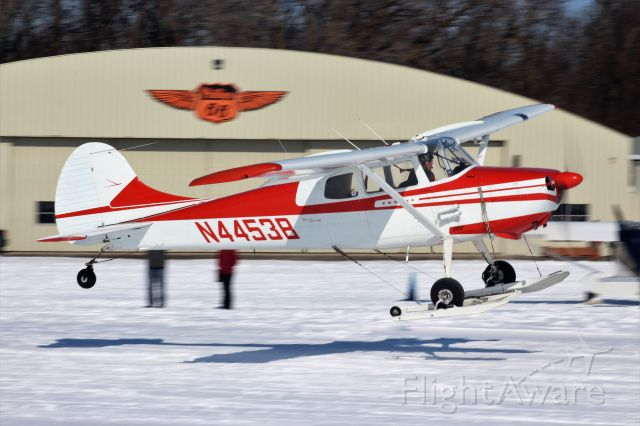 Cessna 170 (N4453B) - On the take-off at Oshkosh Ski Plane Fly-In 2020