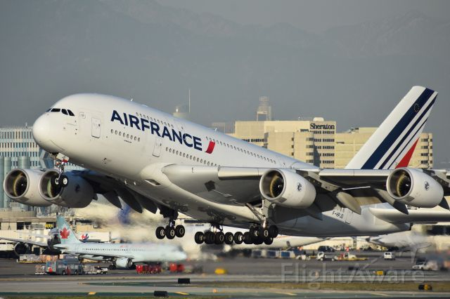 Airbus A380-800 (F-HPJD) - Air France departing LA in some gorgeous light.