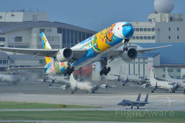 """BOEING 777-300 (JA754A) - Pokemon""""peace☆Jet""""<br />   ( NIKON D4&<br />    NIKKOR AF-S 600mmF4.0 VR G × 2.0telecon = 1200mm)"""