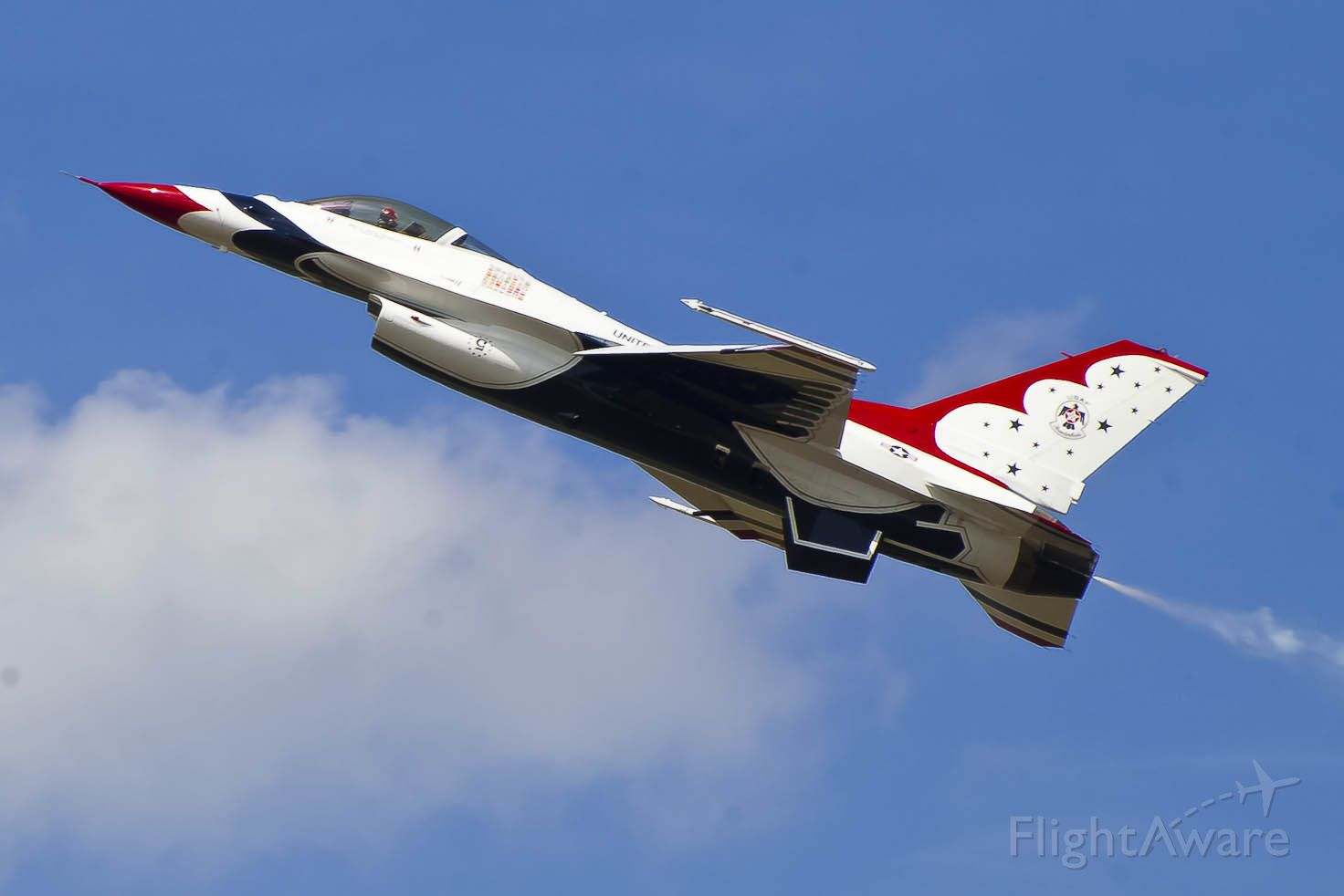 Lockheed F-16 Fighting Falcon — - A U.S. Thunderbirds solo makes a pass at Robins AFB.
