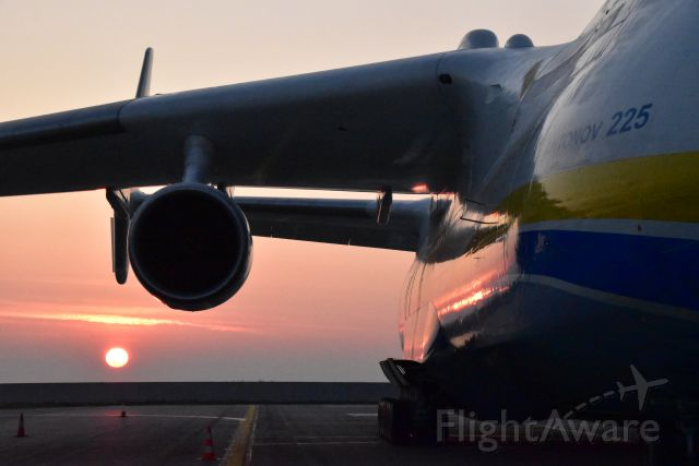 Antonov Antheus (UR-80202) - Antonov 225 at sunrise of Thursday 12 May 2016 prior to departure for Turkmenbashi, Hyderabad, Kuala Lumpur and, eventually, Perth with a power plant generator from Pilsen