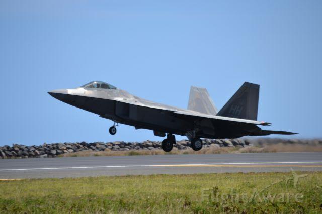 Lockheed F-22 Raptor — - A F-22 taking off from Honolulu from reef runway.