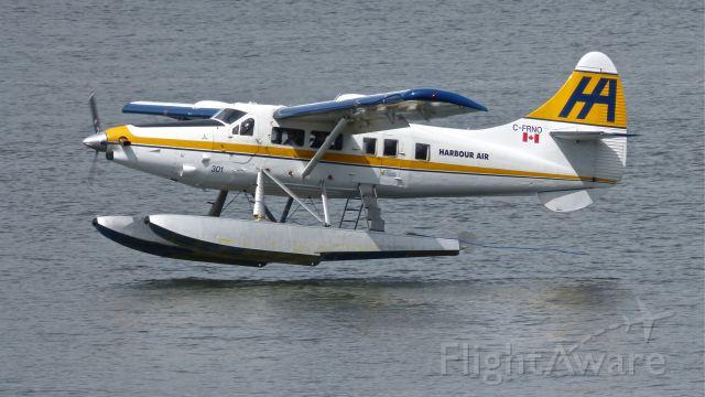 De Havilland Canada DHC-3 Otter (C-FRNO) - Harbour Air Ltd De Havilland Otter (Ser#21) on final to Vancouver, BC air harbor on 5/18/13.