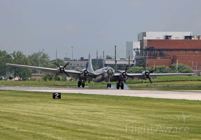 Boeing B-29 Superfortress (N69972) - The long-awaited Doc arriving on RWY 24R in Cleveland for the first time since its restoration, on 31 May 2018.