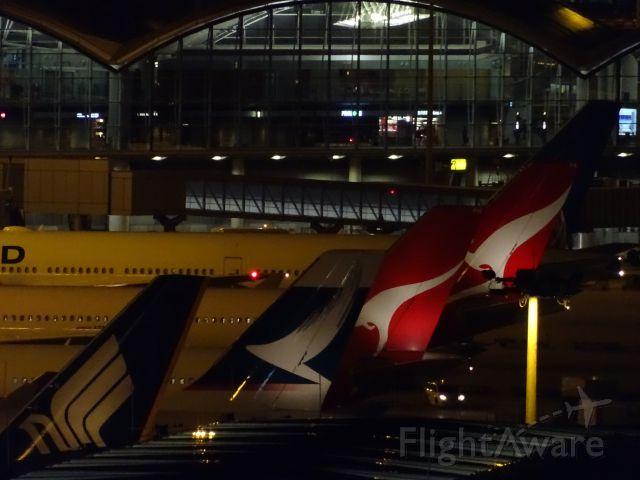 — — - evening at Hong Kong Internation Airport