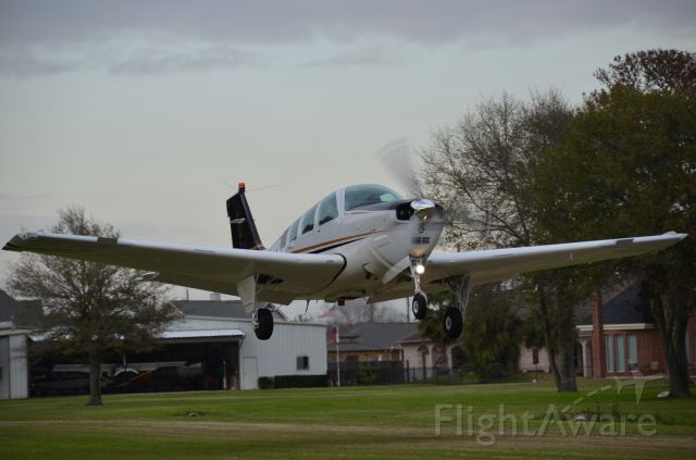Beechcraft Bonanza (36) (N867LC) - N867LC just after lift off from Dry Creek Airport (TS07)