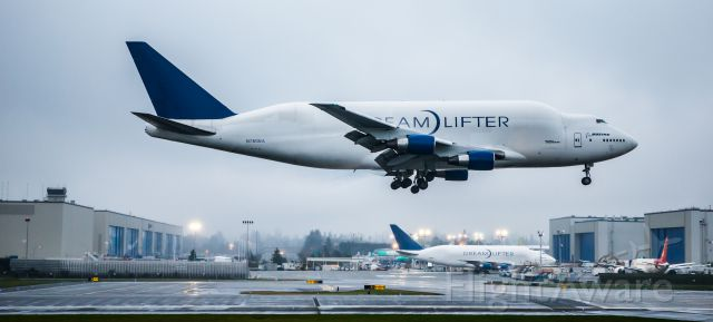 Boeing 747-400 (N780BA) - Two Dreamlifter arrivals within ten minutes...did somebody order some airplane parts?