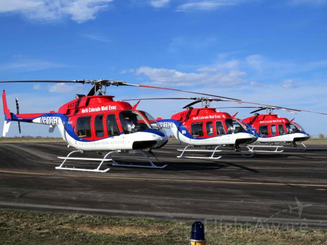Bell 407 (N911GX) - All three Med Evac helicopter's at the Greeley, CO airport