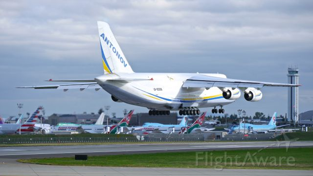 Antonov An-124 Ruslan (UR-82008) - ADB1588 from KAFW on short final to Rwy 16R on 9/19/15. (ln 01-06 / cn 19530501006). The aircraft is delivering parts to Boeing.
