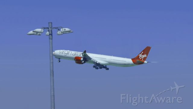 Airbus A340-600 — - Virgin Atlantic departure from Heathrow. Airbus A340-600