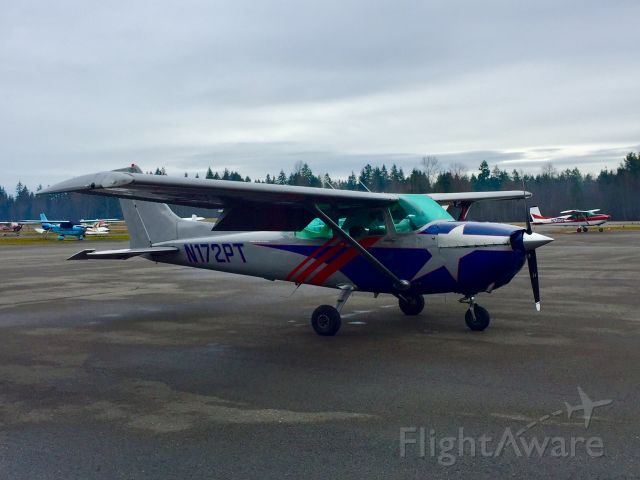 Cessna Skyhawk (N172PT) - Papa-Tango sits on the ramp at Spanaflight on a chilly morning. This aircraft used to be a KOMO-AM-1000 traffic reporting plane.