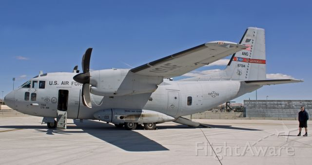 """ALENIA Spartan (C-27J) (08-7014) - Here is another photo from my picture files from years ago .... and this is another one that I definitely want in my FA folder ... because it is quite rare. It is a photo of an Alenia (Alenia Aeronautica/Alenia Aermacchi) C-27J """"Spartan"""" (c/n 4051, USAF 08-27014). But the factor that makes this pic """"rare"""" is not that it is a picture of a Spartan -- there are lots of photos of Spartans. This snap is rare because of the markings on it: 179th Airlift Wing, Ohio Air Guard (Mansfield tail flash). This pic was taken in 2012 when 08-7014 was being flown by the 179th AWs 164th Airlift Squadron. This aircraft was less than four years old; yet just 14 months later (in Aug, 2013), this one was sent to the AMARG boneyard at Davis Monthan (along with all other brand new C-27Js, including several that were delivered STRAIGHT FROM THE ASSEMBLY LINE DIRECTLY TO THE BONEYARD!). Millions of US $$$$ in brand new military aircraft went straight from Alenias plant to the graveyard. So this photo is rare because there are almost no pics of it wearing these Ohio Air Guard markings. However, the US Coast Guard came to the rescue and saved all those discarded Spartans at AMARG from extinction. Today, this same C-27J now flies with United States Coast Guard paint and is assigned USCG reg #2705."""