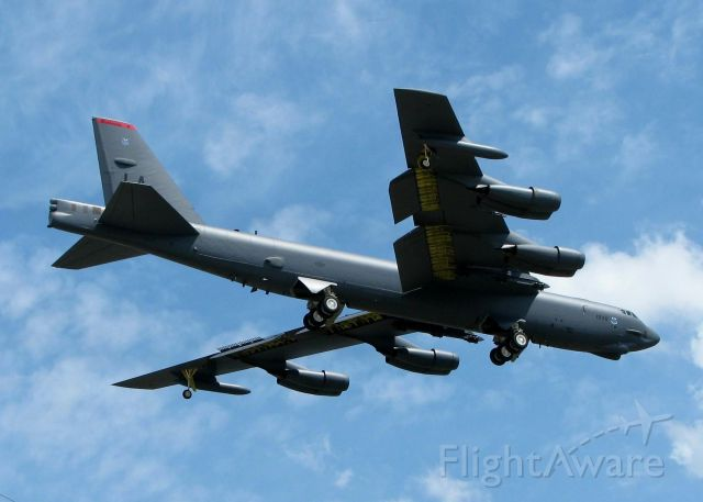 Boeing B-52 Stratofortress (61-0036) - A B52H landing at Barksdale Air Force Base. If there was only sound with the photo! Deafening!