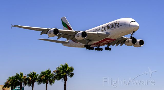 Airbus A380-800 (A6-EEU) - Arriving at LAX from Dubai. Picture take from famous spot place In&Out