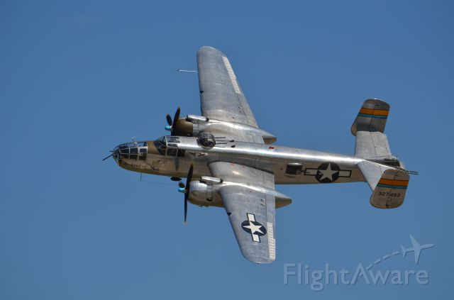 North American TB-25 Mitchell (N27493) - Deke Slayton Airfest June 2014. B-25 Miss Mitchell fly by. Did not quite frame this one perfectly - should have been using tripod but decided I did not want to carry it around that day.