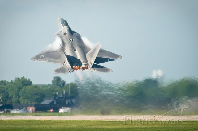 Lockheed F-22 Raptor — - The Raptor goes up for its afternoon demonstration at The Worlds Greatest Aviation Celebration - AirVenture Oshkosh 2008.
