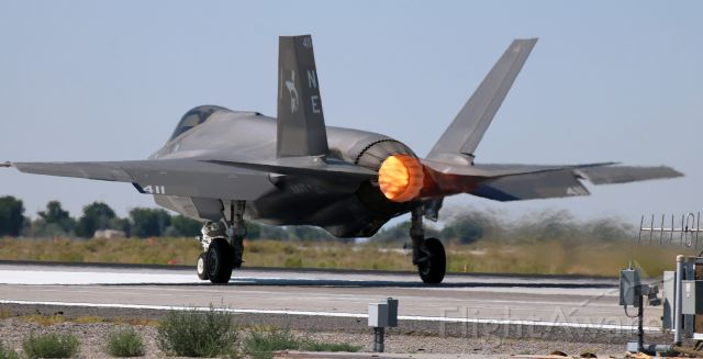 """Lockheed F-35C (16-9600) - United States Navy Lockheed F-35C Lightning (169600).<br />VFA-147 (Strike Fighter Squadron One Forty Seven) """"Argonauts""""<br />Home Port: NAS Lemoore; Lemoore, CA.<br />One of twelve F-35s at NAS Fallon and one of four Lightnings that were going out for an afternoon training exercise, 169600 is caught here departing on Runway 31L.<br />* This is the first photo of 169600 in FA's gallery. *"""