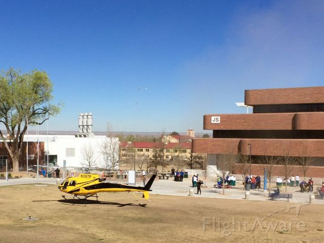 Eurocopter AS-350 AStar (N397P) - Participating in a mock medical emergency drill for health & wellness students. At Central New Mexico Community College, Albuquerque, NM, USA. 11-March-2016