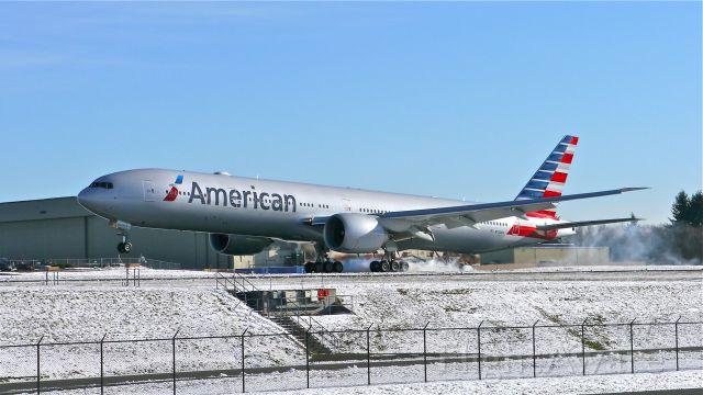 BOEING 777-300 (N732AN) - BOE316 landing on Rwy 34L to complete a flight test on 12/2/14. (ln 1257 / cn 31549).