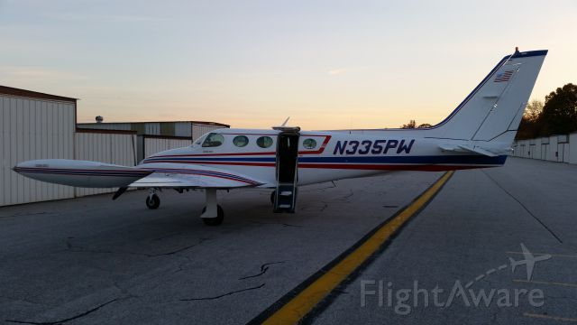 Cessna 335 (N335PW) - Sunset at the Hangers at Martin State Airport in November