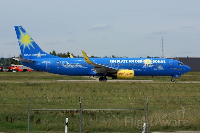 Boeing 737-800 (D-AHFZ) - Boeing 737-8K5  TUIfly  EDDS Stuttgart-Echterdingen Airport  Germany  promoting a german TV lottery show