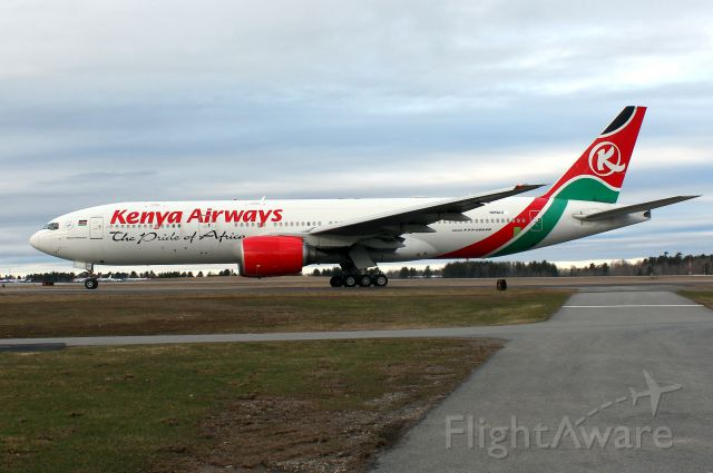 Boeing 777-200 (N819AX) - The former Kenya Airways (5Y-KQU) now wearing Omni Air International reg. N819AX. This is the second of two KQ 777s to be delivered to OAI, which were purchased in Jan. 2016.