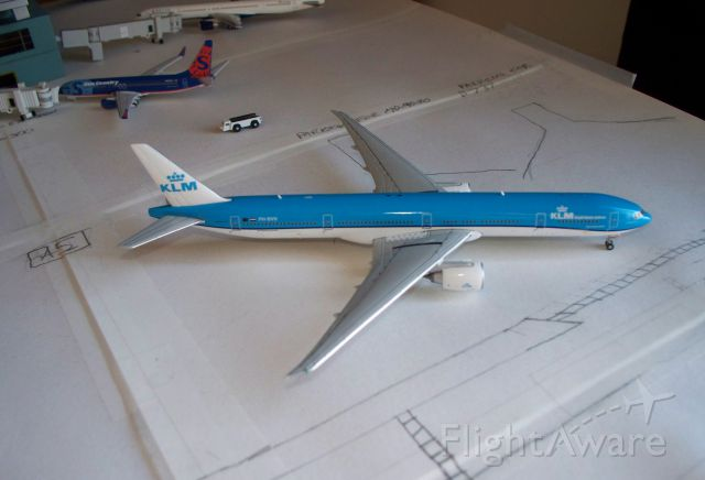 Boeing Dreamliner (Srs.9) (PH-BVN) - One of my newest 1 400 models. KLM 773 holding short of the runway, scheduled to takeoff for Amsterdam soon.
