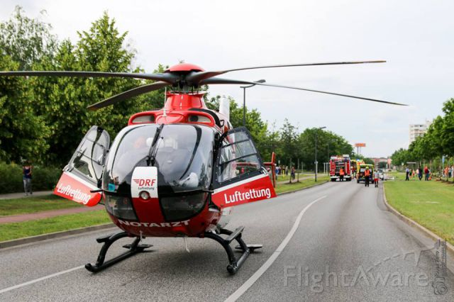 Eurocopter EC-635 (D-HDRC) - have 2 week holiday and you meet colleagues - EC-H135 rescue helicopter - in the urban area