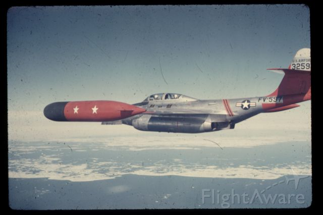 — — - 1958 - F-89D Scorpion, Interceptor aircraft, riding the target near Thule AFB, Greenland.  Equipped with 104 unguided rocket missiles located in launch-tube pods in front of the wing-tip fuel tanks.