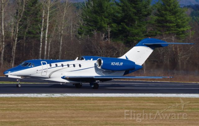 Cessna Citation X (N246JR) - Taking off on a cold late fall day in MA