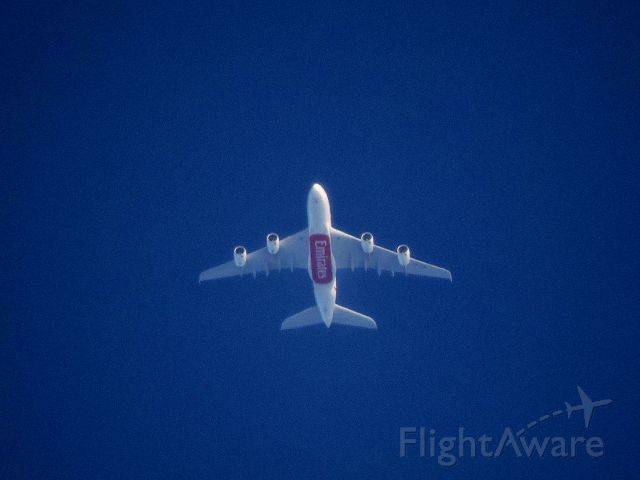 Airbus A380-800 (A6-EDD) - Flying at 38,000ft ,This pic was taken as it appeared in the horizon.