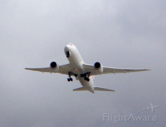 Boeing 787-8 (JA827J) - Inaugural Flight 65 departs for Narita. 12/02/2012