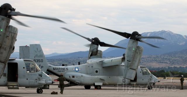 Bell V-22 Osprey (16-8350) - A pair of USMC VMM-163 Ospreys are moments away from taxiing off the Atlantic Aviation apron.
