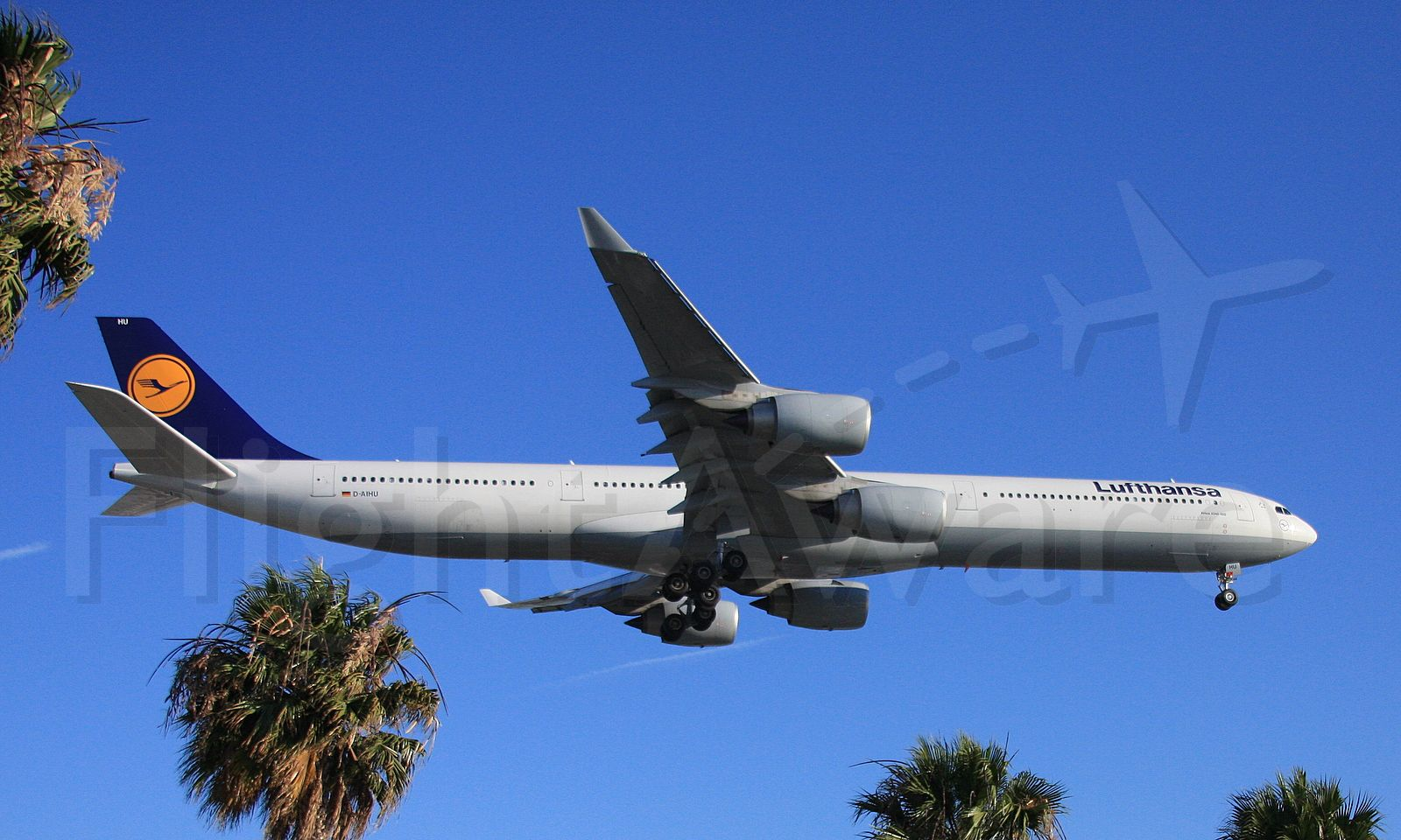 Airbus A340-600 (D-AIHU) - On short final to 24R, from the park across from In N Out