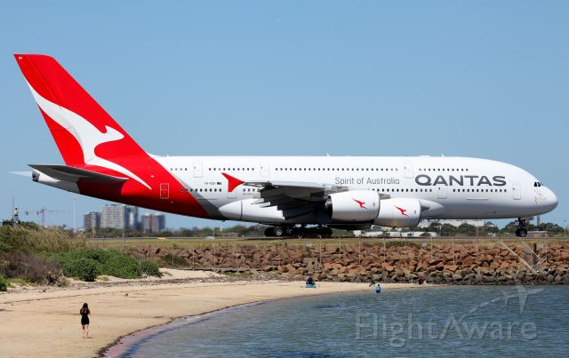 Airbus A380-800 (VH-OQK) - Passing the Beach for a Rwy 34L Departure
