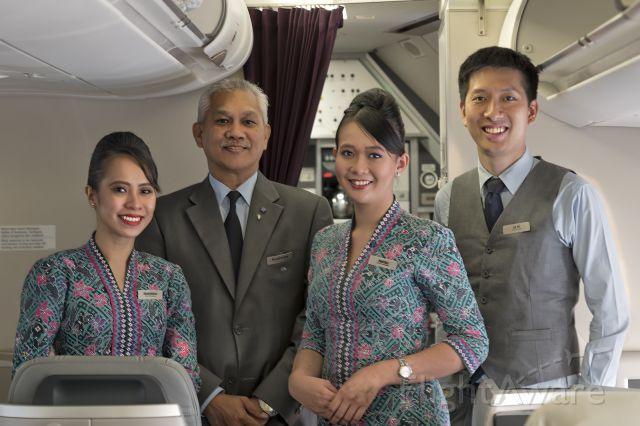 Airbus A330-300 (9M-MTG) - 20th Jan., 2017.  Business Class Cabin crew pose for a shot shortly after the red-eye flight from KUL to KIX.