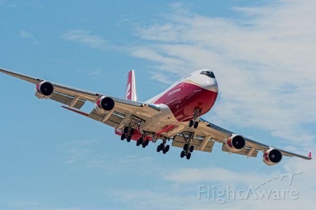 N744ST — - Coming in like an F-16 for a carrier landing. Global Super Tanker landing San Bernardino 8-15-2020.