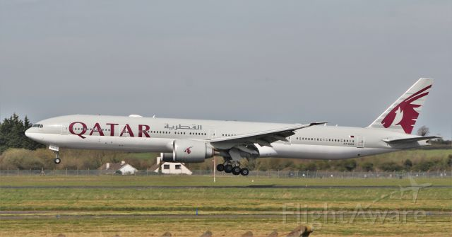BOEING 777-300 (A7-BAQ) - qatar airways b777-3dz(er) a7-baq landing at shannon from china via doha with medical supplies 9/4/20.