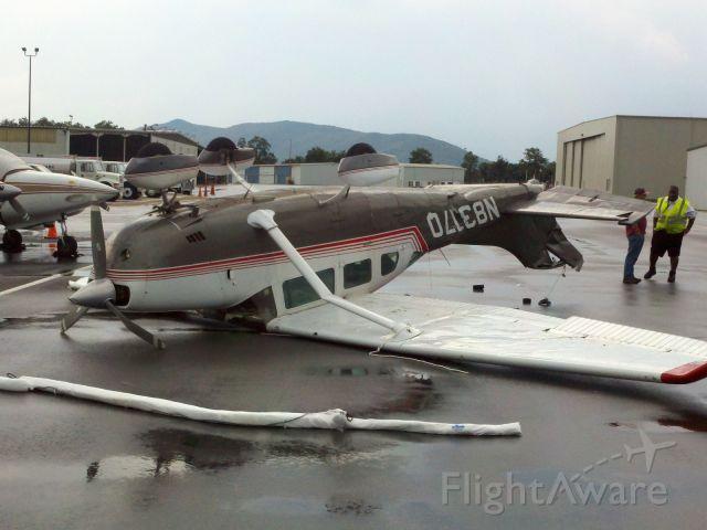 Cessna Skylane (N8317Q) - Tiedown ropes snapped in a thunderstorm Roanoke VA  7/4/11.