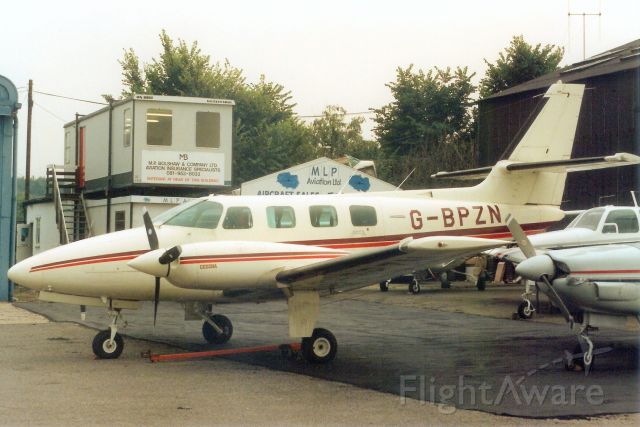 Cessna T303 Crusader (G-BPZN) - Seen here in Oct-91.<br /><br />Transferred to USA 5-Mar-93 as N65NC,<br />exported to Luxemburg 28-Jul-94 as LX-YNC,<br />reregistered OO-ISE 4-Nov-97,<br />then F-HISE 15-Sep-14.