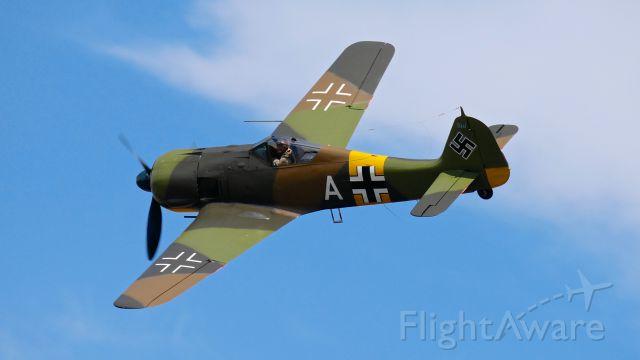 FOUR WINDS 192 (N19027) - SkyFair 7.21.18: #N19027 - Focke-Wulf Fw 190 A-5 (WkNr 151 227) (Blt 1943) makes a pass over Rwy 34L.