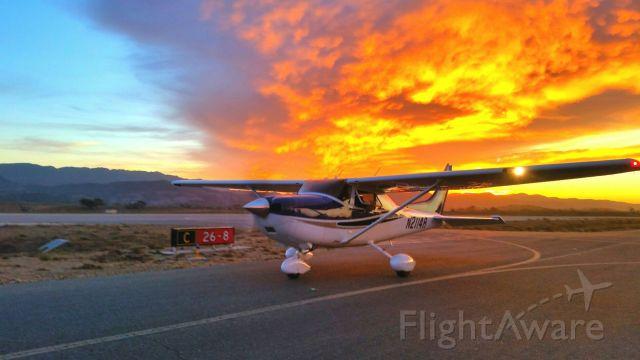 Cessna Skylane (N2114R) - Fiery sunset at KIZA
