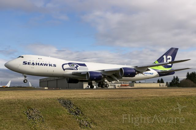 BOEING 747-8 (N770BA) - Boeing joins the entire Pacific Northwest in wishing the Seahawks good luck in the Superbowl! GO HAWKS!