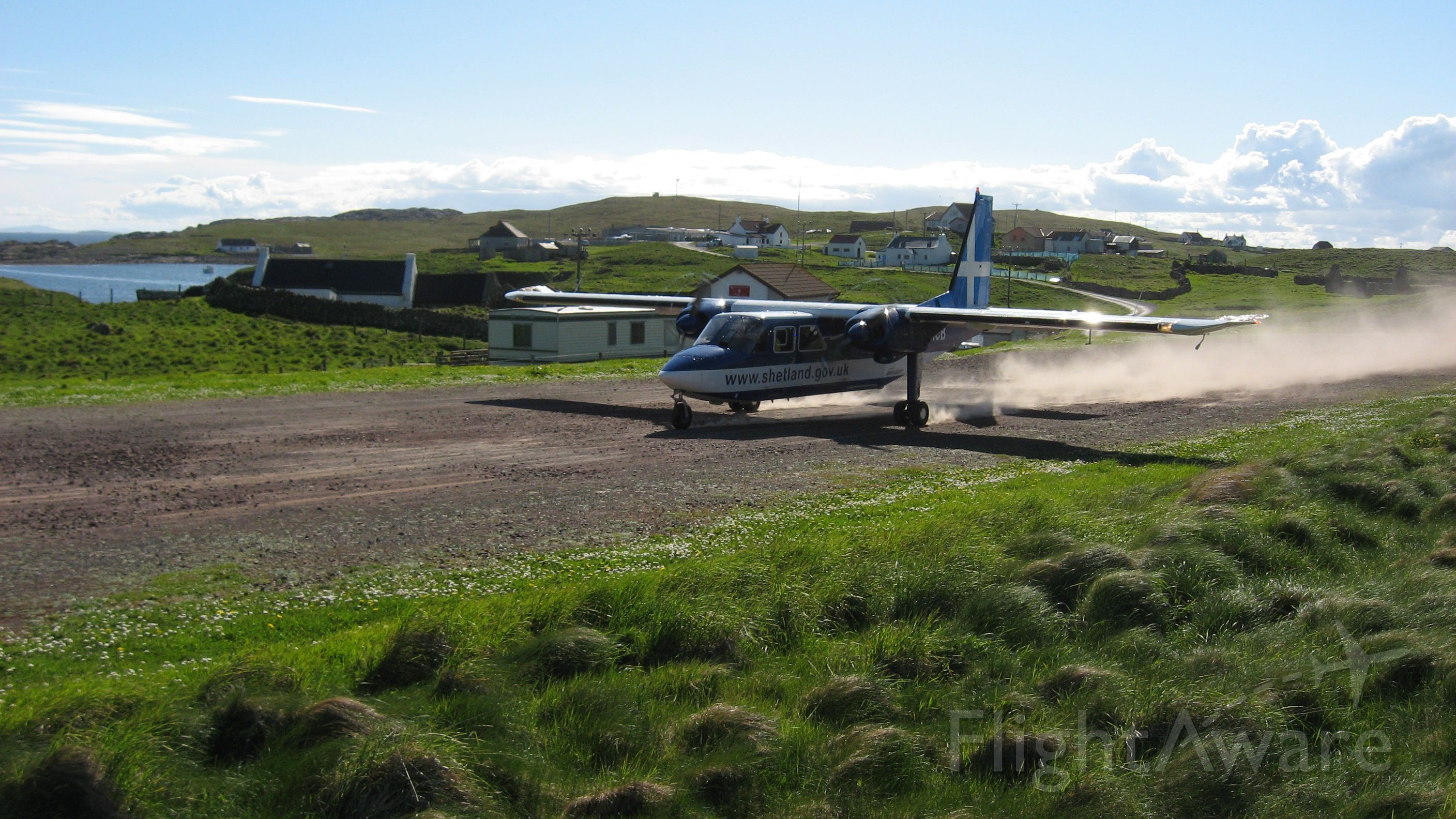 G-SICB — - BNA2 take off at Out Skerries, 1246 ft runway