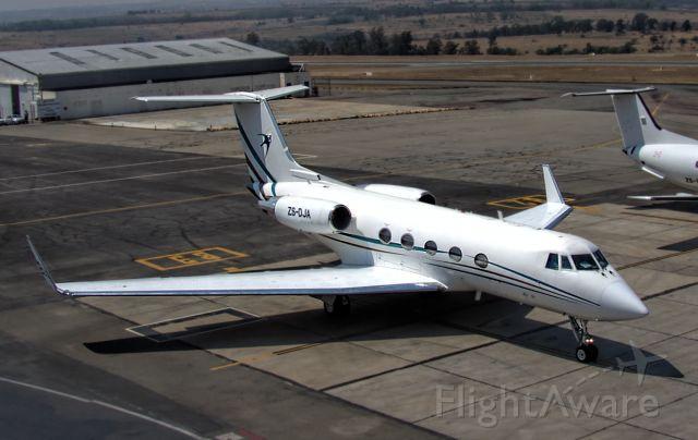ZS-DJA — - A Grumman Gulfstream 2B, belonging to Swift Air, departs from Lanseria Airport, South Africa.