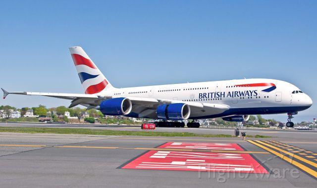 Airbus A380-800 (G-XLEH) - BA213 SUPER Landing RWY 22L