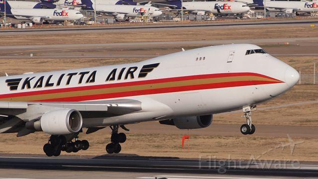 Boeing 747-400 (N403CK) - Touchdown on 18C